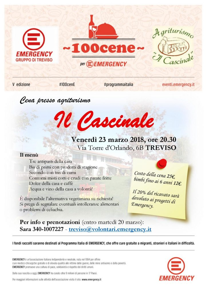 Locandina 100cene Gruppo Emergency Treviso