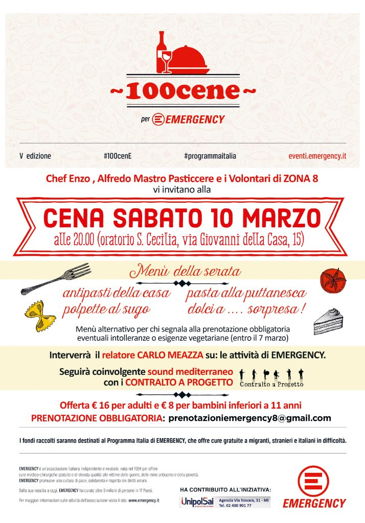 Cena per Emegency - Milano zona 8